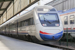 High speed train in station. Close-up photograph of high speed train in station after voyage Stock Images
