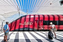 High Speed Train Station in Reggio Emilia, Italy. REGGIO EMILIA, ITALY - August 13, 2013: view of Mediopadana High Speed Train Station in Reggio Emilia, Italy Stock Images
