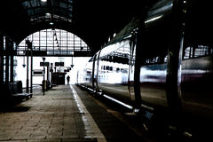 High speed train in station in Wintertime Royalty Free Stock Image