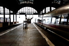 High speed train in station in Wintertime Royalty Free Stock Photos