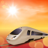 High-speed train. Sunset time. Stock Photos