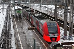 High-speed train `Swallow` on the platform, Russian Railways RZD Stock Photography