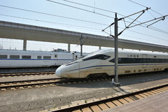 High Speed train on Tongxiang Railway Station Stock Photo