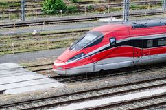 High-speed train on tracks Stock Image