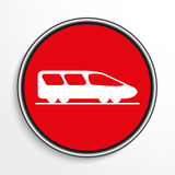 High-speed train. White vector icon on a red background. Stock Photography