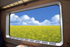high speed train window Stock Photography