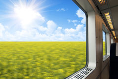 High speed train window Stock Images