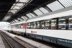 High speed train at Zurich HB train station Stock Photo