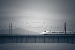 High-speed trains on bridge of across river in China royalty free stock photos