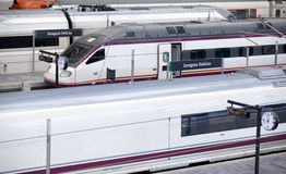 High-speed trains at railway station. Royalty Free Stock Image