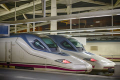 High speed trains in a station Royalty Free Stock Images