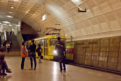 High-speed tram arrives at the underground station Lenin Square Stock Image