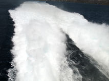 High Speed Wake. The wake of a high-speed catamaran ferry stock photo