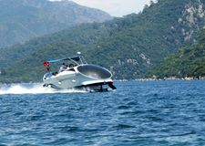 High speed yacht in the aegean sea turkey Stock Images