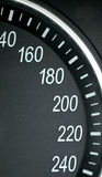 High speed zone. Car speedometer closeup shot of high speed numbers stock photos