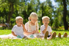 High-spirited kids spending a weekend all together Stock Photo