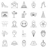 High spirits icons set, outline style. High spirits icons set. Outline set of 25 high spirits vector icons for web isolated on white background Royalty Free Stock Photography