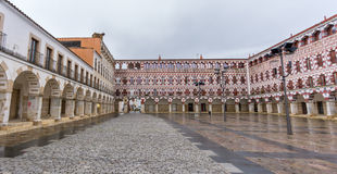 High square in Badajoz, Spain. Wide angle view of high square (Plaza Alta, Badajoz), Spain Royalty Free Stock Images