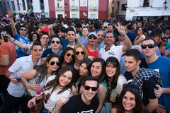 High Square crowd. BADAJOZ , SPAIN - MAY 03 : The annual lame pigeons (palomos cojos in spanish) party. A huge gay pride feast at High Square of Badajoz Stock Image