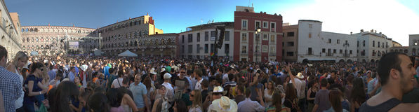 High Square panoramic. BADAJOZ , SPAIN - MAY 03 : The annual lame pigeons (palomos cojos in spanish) party. A huge gay pride feast at High Square of Badajoz Stock Photo