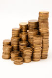 High stack of coins Stock Photo