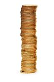 High stack of coins isolated o. High stack of coins isolated  on white Royalty Free Stock Images