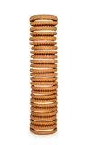 High stack of cookies with cream Stock Image