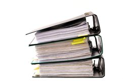 High stack of folders Stock Image