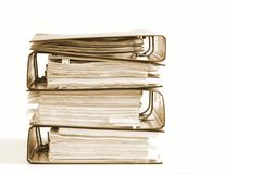 High stack of folders Royalty Free Stock Images