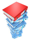 High stack of office folders on a white background. 3d Stock Photo