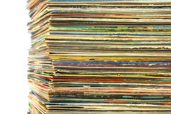 High stack of old vinyl records Royalty Free Stock Photo