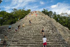 The high stairs of the ancient Mayan pyramid. Nohoch-Mul pyramid in Coba archaeological zone, Mexico Royalty Free Stock Photos