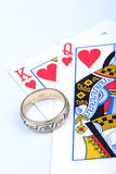 High Stakes. Ring with Pair of Hearts stock image