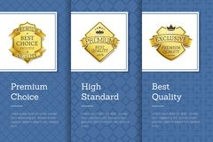 High Standard Premium Choice Best Quality Emblem. Vector posters set on blue backdrop, guarantee assurance seal of best product, vip membership sign Royalty Free Stock Images
