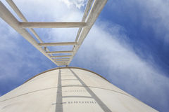 High steel ladder on big water tank Stock Photography