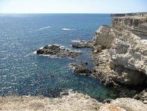 High steep sea shore. Atlesh Crimea, the Black Sea Royalty Free Stock Images