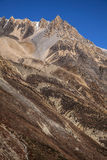 High steep wall in Annapurna region mountains, Himalayas, Nepal. Stock Photos