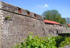 High stone walls of the Uzhhorod castle Royalty Free Stock Images
