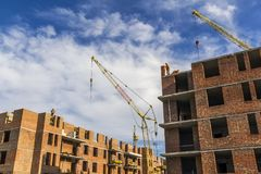 High storey residential buildings under construction Royalty Free Stock Photo