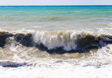 High storm surges. Storm waves on the sea shallows. Stormy weather Stock Photo