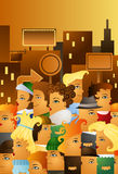 High street. Illustration of people crowding in a high street of a big city vector illustration