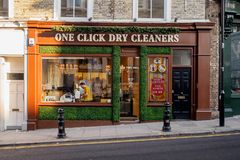 Free High Street Dry Cleaner In London. 2017. Royalty Free Stock Images - 153827699