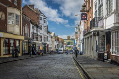 High Street, Guildford. Surrey, UK. Shoppers in Guildford High Street Stock Photos