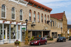 High Street, Mineral Point. MINERAL POINT, WISCONSIN, USA - SEPTEMBER 22, 2016:  Chamber of Commerce, the Grey Dog Deli and other buildings in this small town`s Royalty Free Stock Images