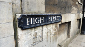 The High Street. Sign in Oxford, England Royalty Free Stock Photos