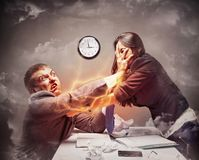 High stress fight. In office Stock Photo