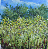 High summer flowers in the meadow, trees, sky, oil painting Stock Photography