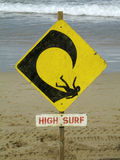 High Surf. Warning sign: high surf Stock Image