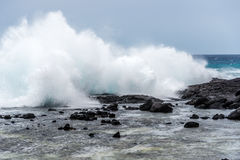 High surf in Hawaii. High surf in storm in Kailua Kona Stock Photo