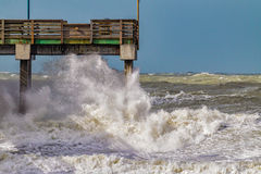 High surf pounds Venice coastline due to El Nino during January 2016 royalty free stock photography
